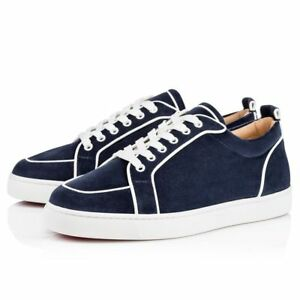 79614d50d19 NIB Christian Louboutin Rantulow Orlato Flat Mens Blue White Low Top ...