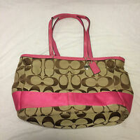 EEUC Coach Signature Stripe Multifunction DIaper Baby Tote Bag F13803 Khaki Pink