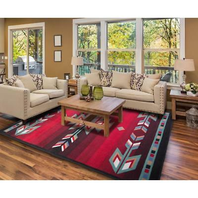 Aztec Area Rug Southwestern Red Black Turquoise Green Arrow Accent Floor Carpet Ebay