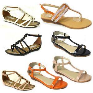 neuves-pour-femmes-mode-GLADIATEURS-ete-fete-sandales-plage-chaussures-plates