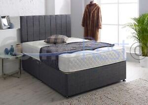 "24"" PANEL  Headboard Quality Fabric Memory Orthopaedic Mattress Divan Set UK"