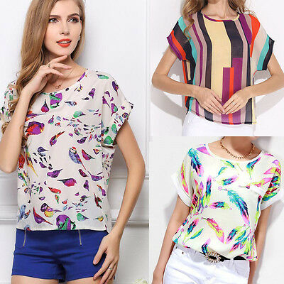 Summer Women Blouse Printed Loose Chiffon Blouse Short Sleeve Casual Shirt Tops