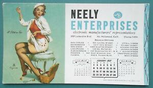 PIN-UP-GIRL-Mending-Short-Skirt-FEBRUARY-1959-INK-BLOTTER-Neely-Electronics