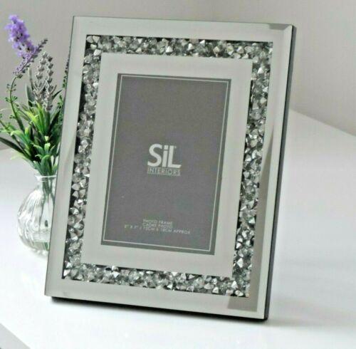 5x7 Miroir Argent Verre Cadre Photo Cristal Diamant Gem baignoir Cadeau