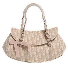 100% Authentic Christian Dior Trotter Romantique Beige Monogram Canvas Flap Bag