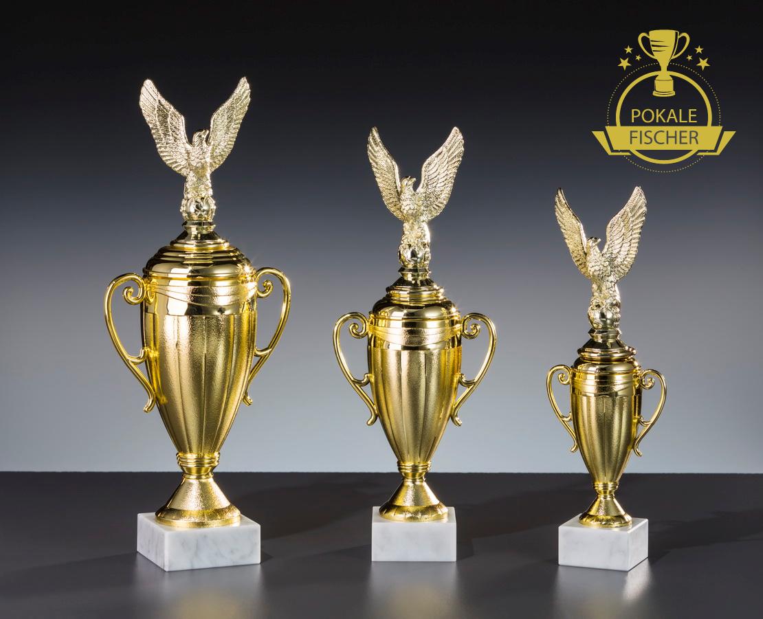 Pokale 3er Serie oder Pokal gold Siegesadler einzeln gold Pokal Büro Pokal inkl. Gravur 5cf8c5
