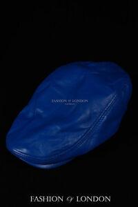 Royal Blue GATSBY HAT Real Lambskin 100/% Leather Cabbie Newsboy Bakerboy Cap