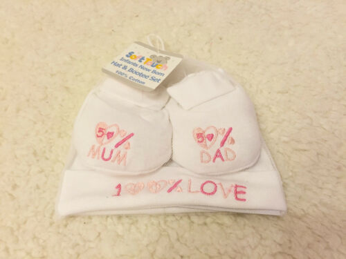 Jungen/&Mädchen Baby Set Mütze Schuhe I love Mum//Dad Sweet Baby Geschenkset