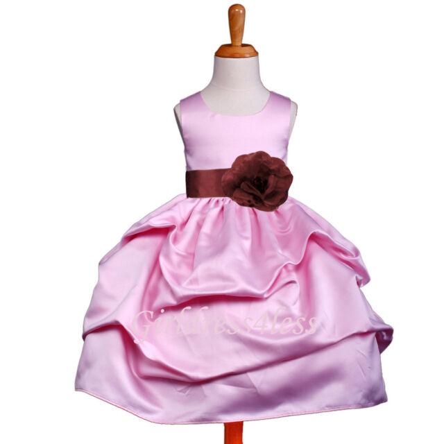 26255ba6670 NEW PINK BURGUNDY WINE PICK UP PARTY FLOWER GIRL DRESS 6M 12M 18M 2 ...