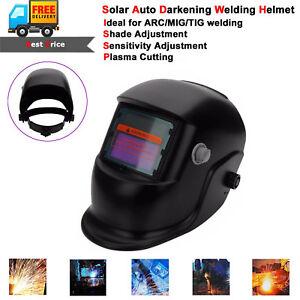 Black Solar Powered Auto-Darkening Welding Helmet Grinding TIG Welder Mask