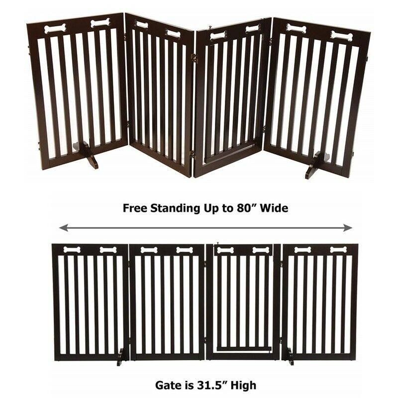 Bundle Safety Pet Dog Cat Rabbit Wood Gate Guard Fence EZ Setup 80X31 & Foot New
