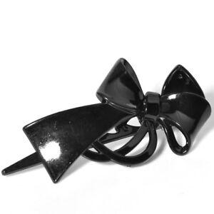 Lady-Women-Black-Plastic-Duckbill-Clip-Hairpin-Hair-Clamp-Bowknot-Hairpin-Hot
