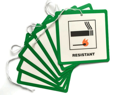 100 Fire Resistant Flame Retardant labels Swing Tickets Tag Furniture Upholstery