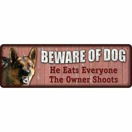 "BEWARE OF DOG 3.5/"" x 10.5/"" inch aluminum warning Metal Novelty Sign"