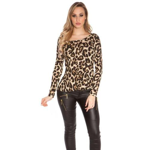 Damen Langarm Shirt mit Animalprint Leopard-Optik Beige 34//36//38 #S1146