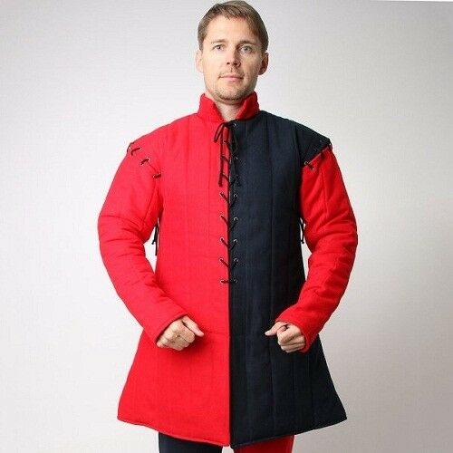 Thick padded Red Black Gambeson medieval armor