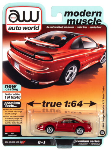 A Rel 5 Auto World 1991 Dodge Stealth RT Twin Turbo Modern Muscle 1:64 VS