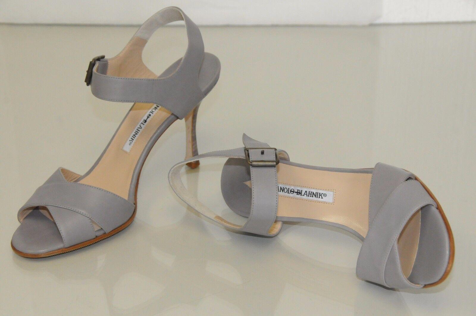 New Manolo Blahnik GREY Matte Leather Sandals shoes Hells Hells Hells 40.5 46bb24