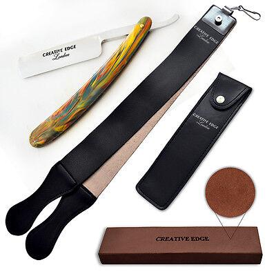 New Barber Straight Cut Throat Salon Wet Shaving Razor Leather Strop Rasoirs