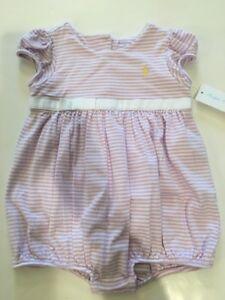 e775678e2 NWT Ralph Lauren Baby Girl Purple Striped Polo Bubble Romper ...