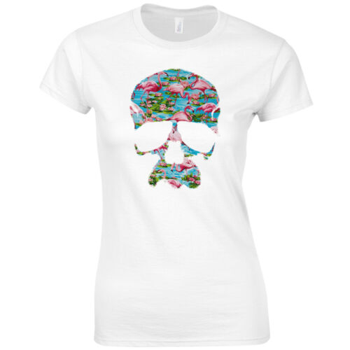 Fresh Swag Hipster Tropical Tumblr Top Flamingo Skull Ladies Fitted T-Shirt