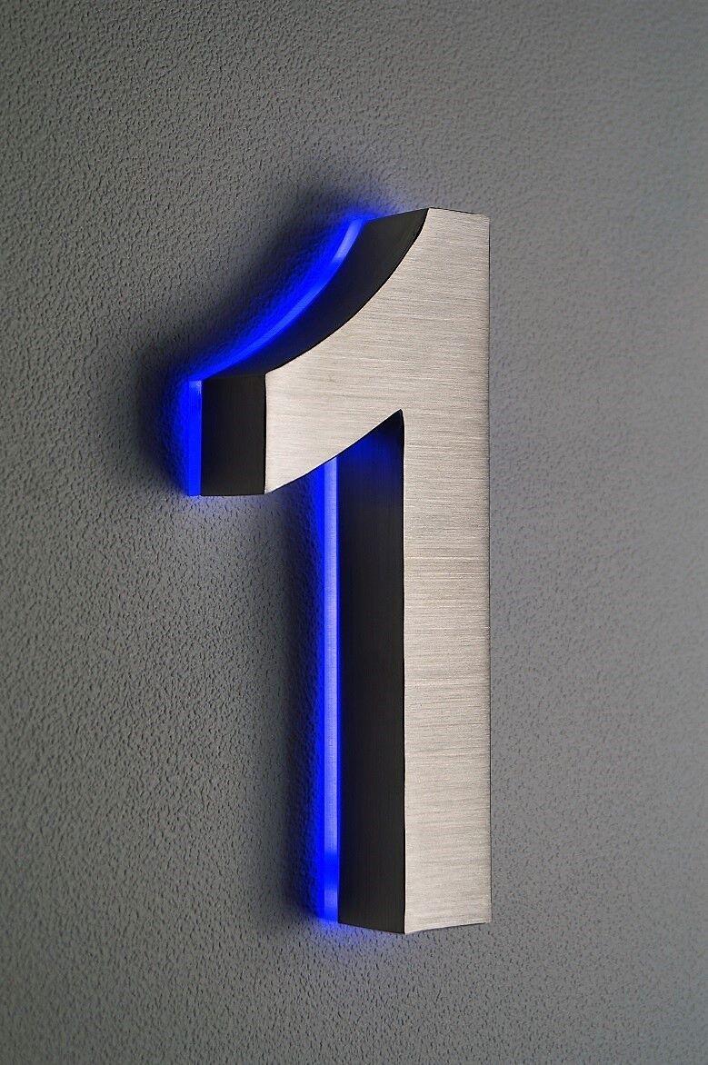 Hausnummer beleuchtet Edelstahl Nr.1   LED in blau blau blau   DC12V   ohne Trafo H20cm | Leicht zu reinigende Oberfläche  | Lass unsere Waren in die Welt gehen  | Schön geformt  0a47c2