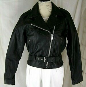 MOB-Leather-Black-Perfecto-Biker-Jacket-Belted-Double-Rider-Women-039-s-12-VTG