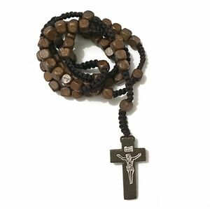 WOODEN ROSARY BEADS BROWN NECKLACE CROSS CRUCIFIX CATHO
