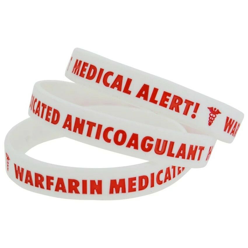 Conception innovante en soldes en arrivant Details about Warfarin Anticoagulant Medical Alert Bracelet Badge Health  Blood Thin Silicone