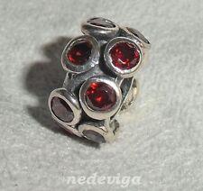 925 Sterling Silber Bead Charm Anhänger Glitzerbead mit Zirkonia rot + Etui