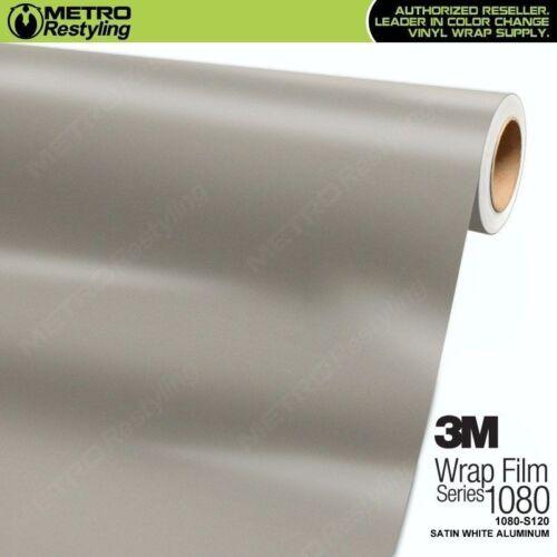 3M 1080 S120 SATIN WHITE ALUMINUM Vinyl Vehicle Car Wrap Decal Film Sheet Roll