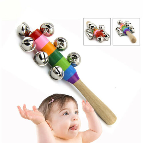 Baby Kids 7//10Bell Jingle Rainbow Shaker Stick Wooden Musical Instrument Toys