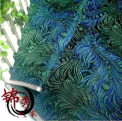"1/2 yard/meter green peacock brocade tapestry satin Fabric Cosplay DIY 29"""