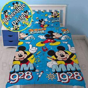 Mickey-Mouse-Refroidir-Housse-Couette-Simple-Set-Reversible-Enfants-Garcons-Bleu