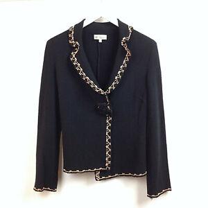 Blumarine-Blazer-Jacket-Cardigan-UK-Size-12-Black-Embroidered-Womens