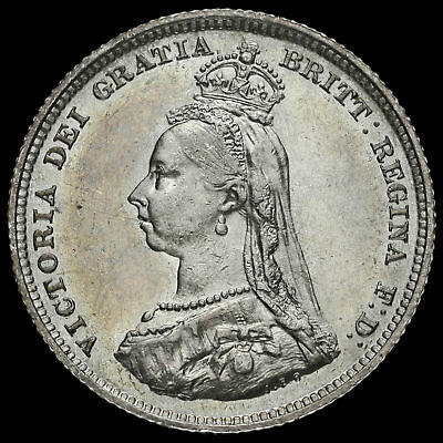 1887 Queen Victoria Jubilee Head Silver Shilling, Scarce Variety, A/EF