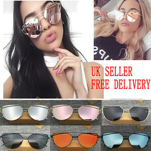 Women-Mirrored-Lenses-Designer-Sports-Retro-Vintage-Cat-Eye-Oversized-Sunglasses