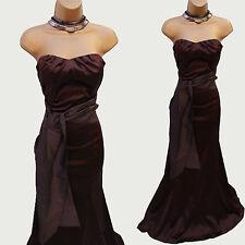 COAST Brown Satin Corset Bandeau Wedding Cocktail Fishtail Long Maxi Dress 12-10
