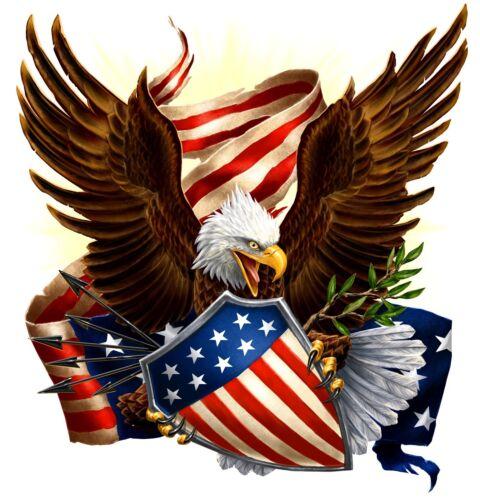 "American Eagle Flag Shield Patriotic Decal 18/"" Trailer RV Truck Boat Vinyl"