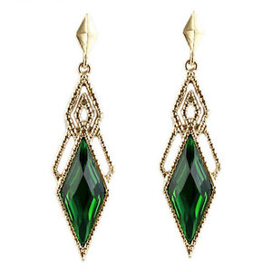 Vintage-Style-Beautiful-Gold-amp-Dark-Green-Long-Drop-Stud-Evening-Earrings-E960