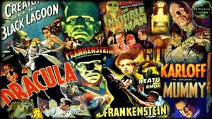 Universal Monsters Frankenstein,D<wbr/>racula,The Mummy,Creature Sticker OR Magnet