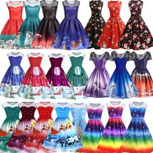 SALE-Women-Retro-50s-Rockabilly-Christmas-Xmas-Party-Santa-Snow-Swing-Dress