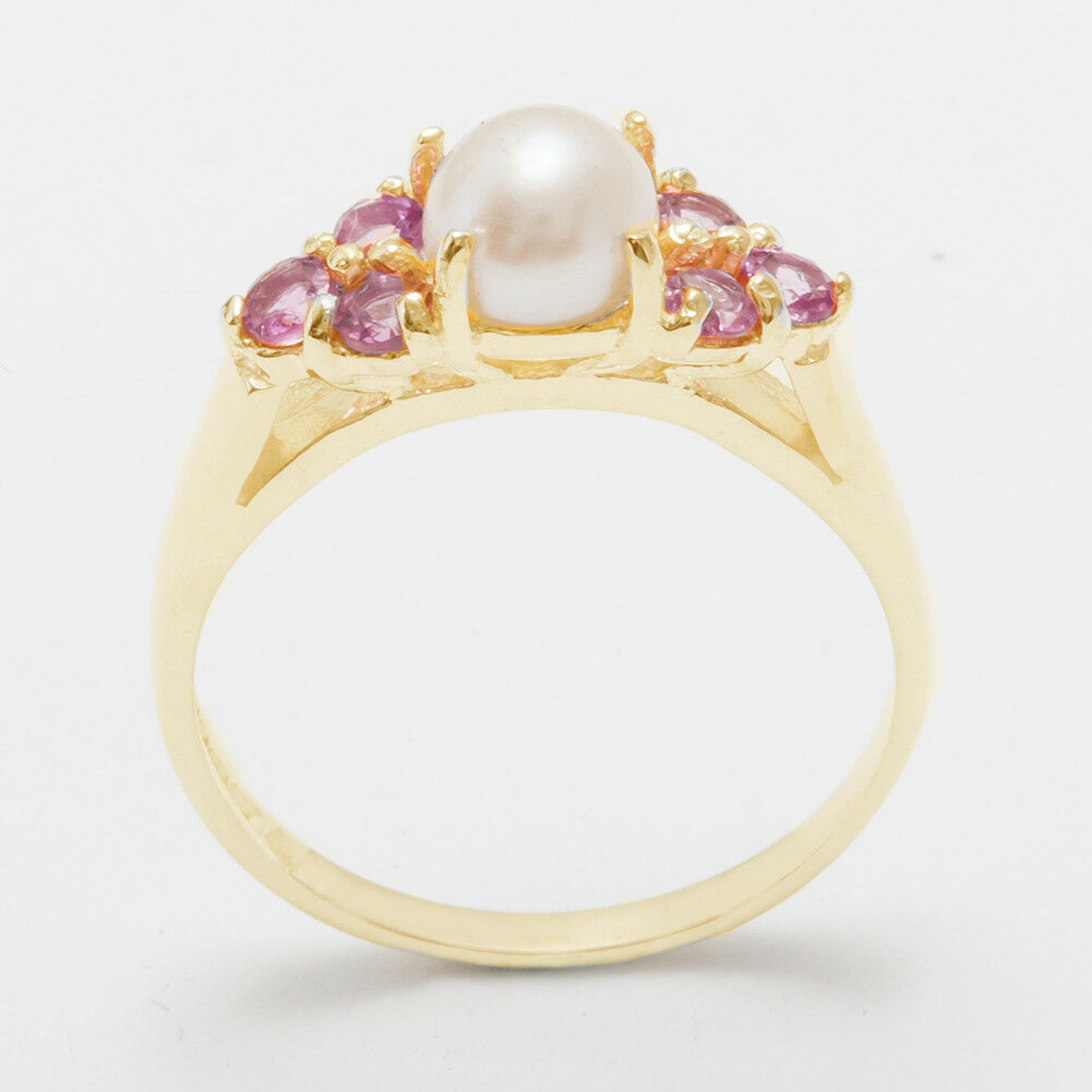 14ct Yellow gold Full Pearl & Pink Tourmaline Womens Cluster Ring - Sizes J to Z