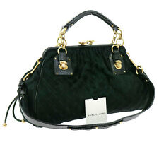 Auth MARK JACOBS Quilted 2way Hand Bag Green Fur Leather Vintage Italy V08968