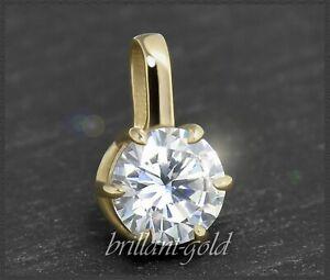 Diamant-Solitaer-Anhaenger-mit-0-99-ct-Top-Wesselton-amp-Si-585-Gold-Damenanhaenger