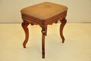 Victorian Walnut Briggs' Adjustable Piano Bench, Stamped, Original Needlepoint
