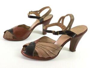 96ac1b05406e9 Size 6.5 1940s brown tan color block shoes heels pumps leather 40s ...
