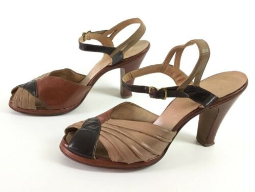 Size 6.5 1940s brown tan color block shoes heels p