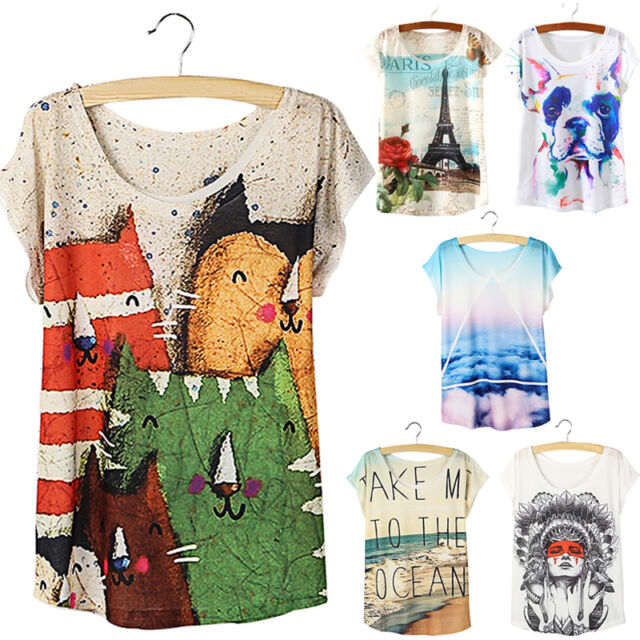 Women Loose Batwing Short Sleeve Casual Tops Tee Graphic Printed Blouse Pop