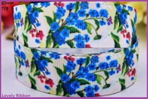 Sewing Hair 22mm Grosgrain BLUE FLOWERS 7//8 1 metre Ribbon Cake Decor